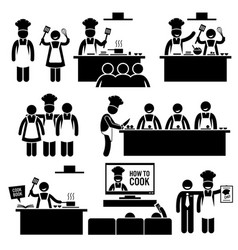 Cooking class chef cook stick figure pictograph vector