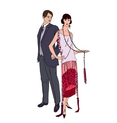 couple on party man woman in cocktail dress in vector image
