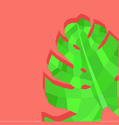 creative monstera leave abstract image in coral vector image