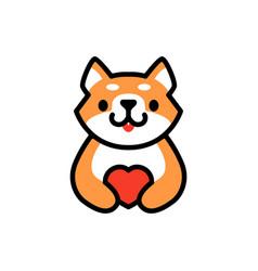 Cute shiba inu love heart dog cartoon logo icon vector
