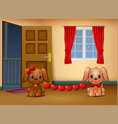 Cute two dogs bite heart in the living room vector