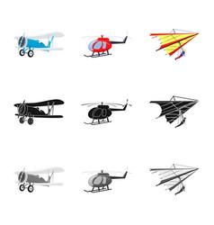 Design of plane and transport symbol set vector