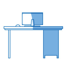 desk computer office workspace design vector image