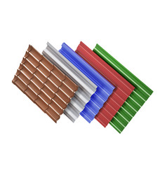 different types roof tiles textures vector image