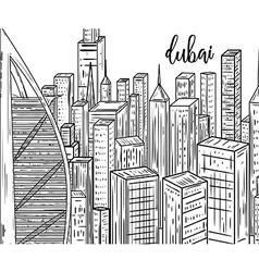 Dubai black and white cityscape in line art style vector