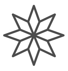 Eight-pointed star line icon christmas tree star vector