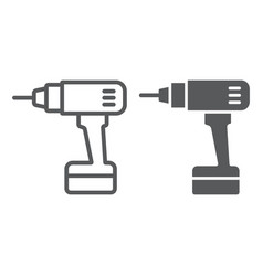 electric drill line and glyph icon tool and vector image