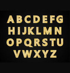 english alphabet with glitter letters in gold vector image