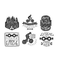 Extreme freeride premium retro labels set bicycle vector