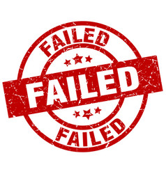 Failed round red grunge stamp vector