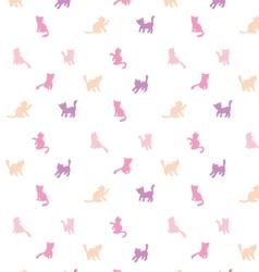Feminine seamless cat pattern vector image