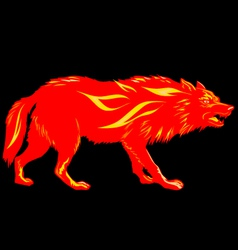 Fire Wolf silhouette fire hazard vector image