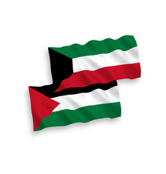 Flags palestine and kuwait on a white vector