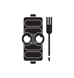 Flat icon in black and white mobile battery vector image