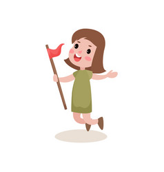 Flat joyful girl scout jumping with red flag in vector