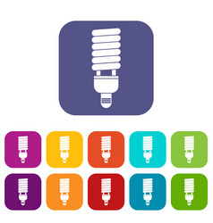 Fluorescent bulb icons set vector