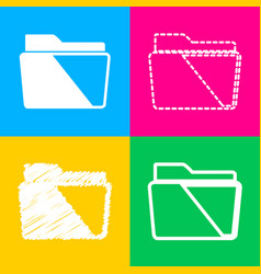 folder sign four styles of icon on vector image