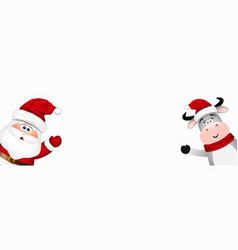 funny santa and bull in red hat vector image