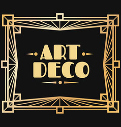 gold art deco frame border with graphic 1920s vector image