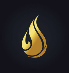Gold bio waterdrop organic logo vector