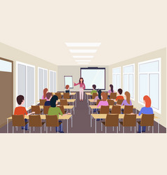 Group of students listening female teacher vector