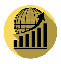 growing graph with earth flat black icon vector image