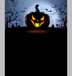 Halloween background with scary pumpkin vector