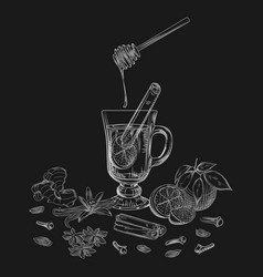Hand drawn citrus non alcoholic mulled wine and vector