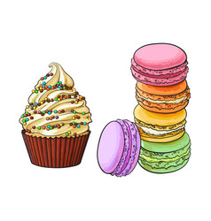 Hand drawn desserts - cupcake and stack of vector