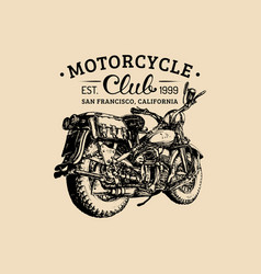 Hand drawn motorcycle club logo vintage vector