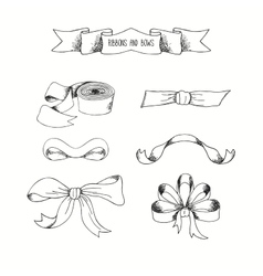 hand drawn ribbons set banners collection vector image