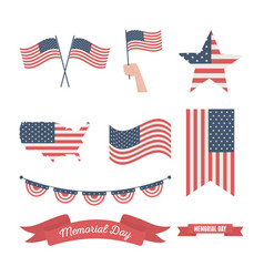 Happy memorial day united states flags different vector