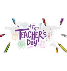Happy teacher day purple text with school vector