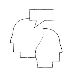 heads human dialog communication sketch vector image