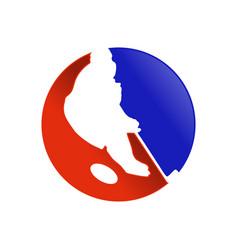 hockey player silhouette circular symbol design vector image