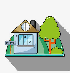 Home with design next to tree vector