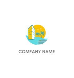 hotel beach resort vacation logo vector image