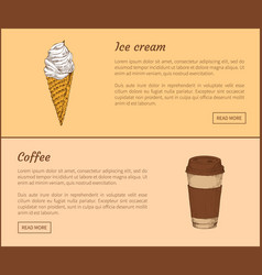 ice cream and coffee in cup vector image