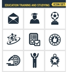 Icons set premium quality of basic education vector image