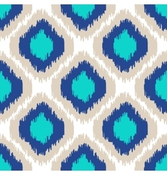 Ikat geometric seamless pattern Turquoise vector image