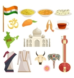 India icons set catoon style vector