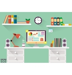 interior of working place concept in flat design vector image