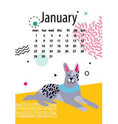 january calendar for 2018 year with calm doberman vector image