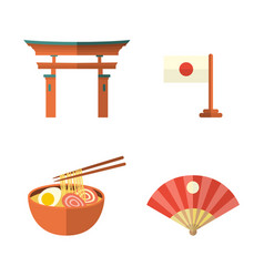 Japanese flag fan noodle and torii gate icons vector