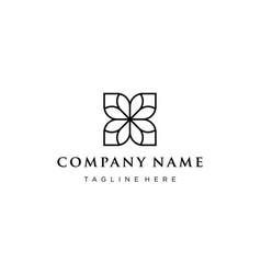 line flower logo design concept vector image
