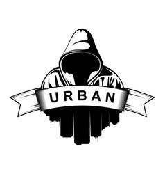 logo design hooded man city silhouette urban vector image