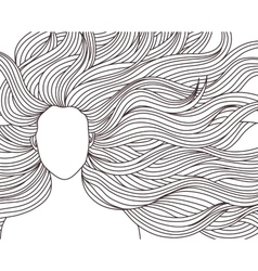 long hair beauty girl vector image