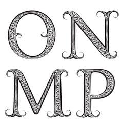 M N O P vintage patterned letters Font in floral vector