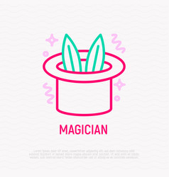 Magician hat with rabbit ears thin line icon vector