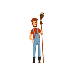 male farmer with broom farm worker with gardening vector image